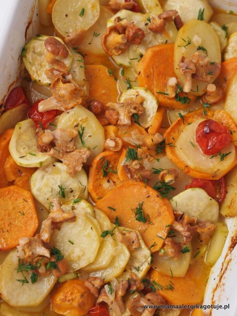 Zapiekanka warzywna z kurkami